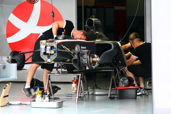 Hispania Racing F1 Team work on thier cars