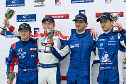 2nd place Daisuke Nakajima, race winner Rupert Svendsen-Cook, National Class winner Manesheh Iadafar, and 3rd place, Carlos Huertas