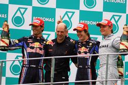 Podium: race winner Sebastian Vettel, Red Bull Racing, second place Mark Webber, Red Bull Racing, third place Nico Rosberg, Mercedes GP, Adrian Newey, Red Bull Racing, Technical Operations Director