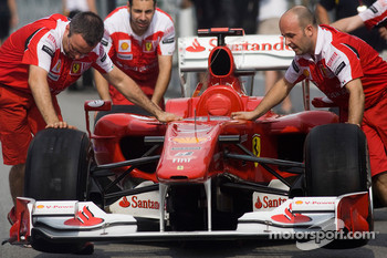 Ferrari mechanics at work