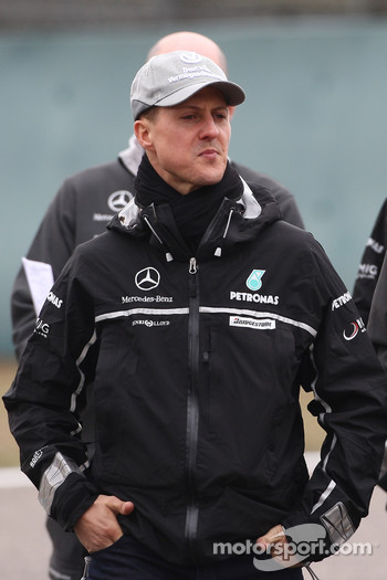Michael Schumacher, Mercedes GP walk the circuit