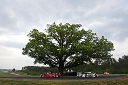 Cars race past the Oak Tree
