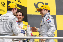 Podium: race winner Gary Paffett, Team HWA AMG Mercedes C-Klasse, second place Bruno Spengler, Team HWA AMG Mercedes C-Klasse, third place Jamie Green, Persson Motorsport