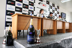 Third placed Will Bratt, race winner Philipp Eng and second placed Dean Stoneman in the post race press conference