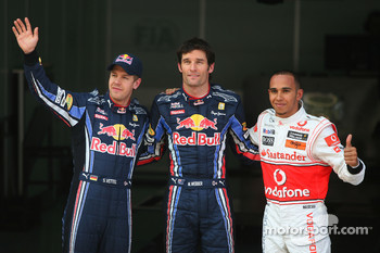 Sebastian Vettel, Red Bull Racing, Mark Webber, Red Bull Racing and Lewis Hamilton, McLaren Mercedes