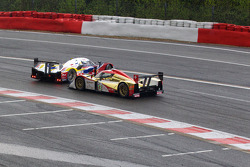 #4 Team Oreca Matmut Peugeot 908 HDi-FAP: Olivier Panis, Nicolas Lapierre, Loic Duval and #13 Rebellion Racing Lola B10/60 Coupe Rebellion: Andrea Belicchi, Jean-Christophe Boullion crash