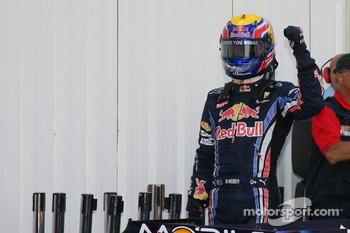 Mark Webber, Red Bull Racing celebrates pole