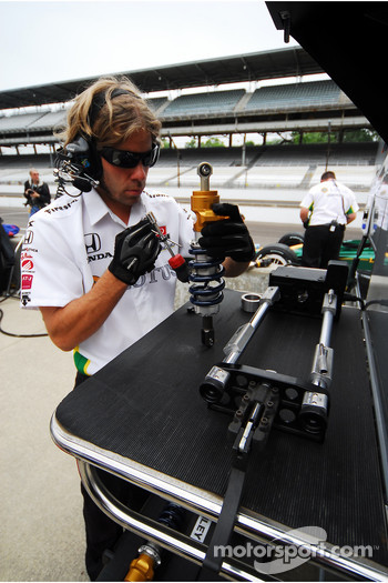 A KV Racing Technology crew member