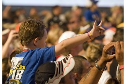 A fan shows his enthusiasm