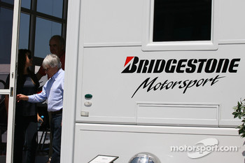 Bernie Ecclestone leaving the bridgestone motorhome