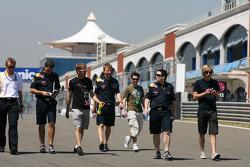 Sebastian Vettel, Red Bull Racing walk the circuit