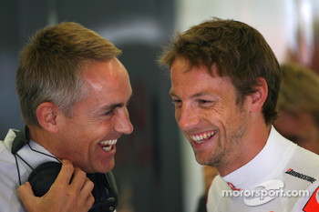 Martin Whitmarsh, McLaren, Chief Executive Officer and Jenson Button, McLaren Mercedes