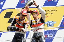 Podium: race winner Dani Pedrosa, Repsol Honda Team, third place Andrea Dovizioso, Repsol Honda Team