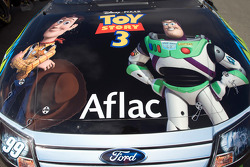 The hood of the No. 99 Aflac car shows the new movie Toy Story 3