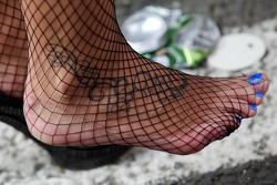 Foot in fish net
