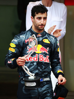 Second placed Daniel Ricciardo, Red Bull Racing on the podium