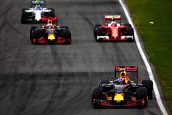 Max Verstappen, Red Bull Racing RB12 leads Daniel Ricciardo, Red Bull Racing RB12, Kimi Raikkonen, Ferrari SF16-H and Valtteri Bottas, Williams FW38