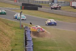 Stefan Wendt nearly flips, Porsche Carrera Cup Germany Oschersleben 2009