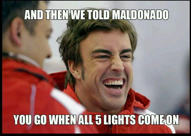 Alonso makes fun of Pastor Maldonado jump start at Spa