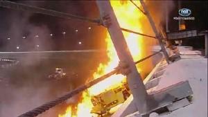 Juan Montoya's Fire Filled Crash - Daytona 500 - Daytona - 02/27/2012