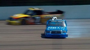 NASCAR Quiroga spins and hits the wall | Michigan International Speedway