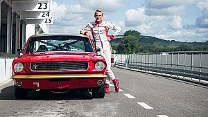 Max Chilton tests the Alan Mann Ford Mustang On Track ready for Revival