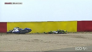 Valentino Rossi Crashes Out - Aragon GP 2014
