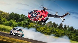 Aerobatic Helicopter Chases Drifting Race Car