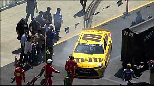 Kyle Busch's car collides with a woman in infield area