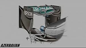 Giorgio Piola - Mercedes W07 'Spoon' rear wing