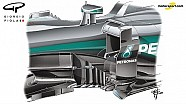 Giorgio Piola - Mercedes W07 bargeboard evolution