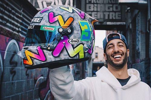 Ricciardo shows off bold new helmet design