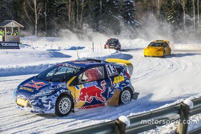 Josef Newgarden y Helio Castroneves en la presentación de RallyX