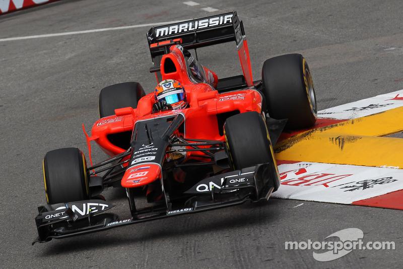 Marussia team's Thursday rain dance in the streets of Monte Carlo