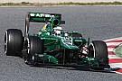 Caterham's Van der Garde is happy after his final day of testing in Barcelona