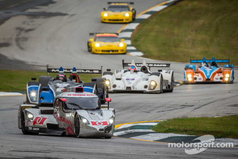 The DeltaWing team finishes on the podium at the final American Le Mans Series race