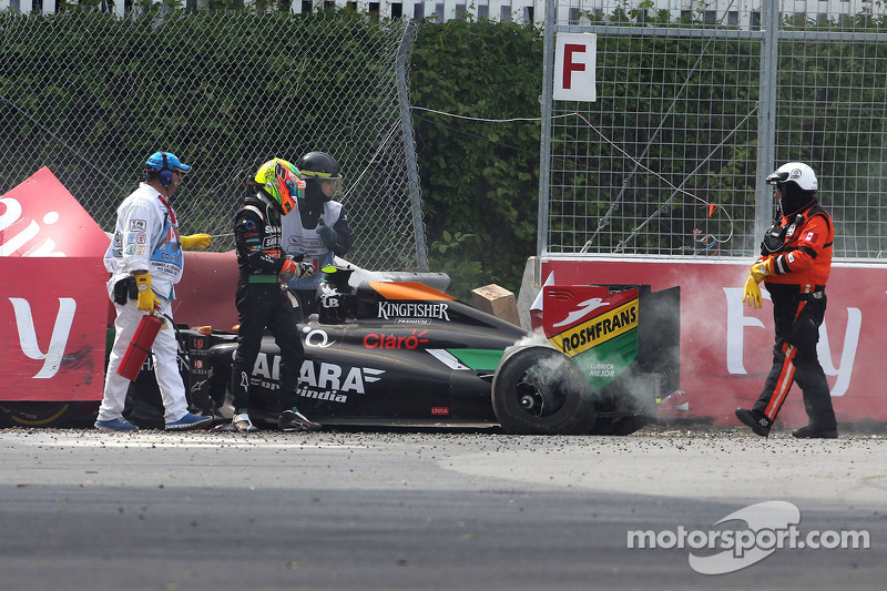 Sahara Force India's Perez challenges for victory until the closing laps of the Canadian GP