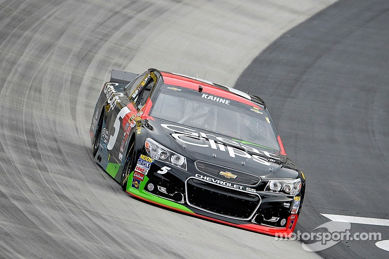 Kahne leads Saturday morning practice as Johnson and others suffer damage