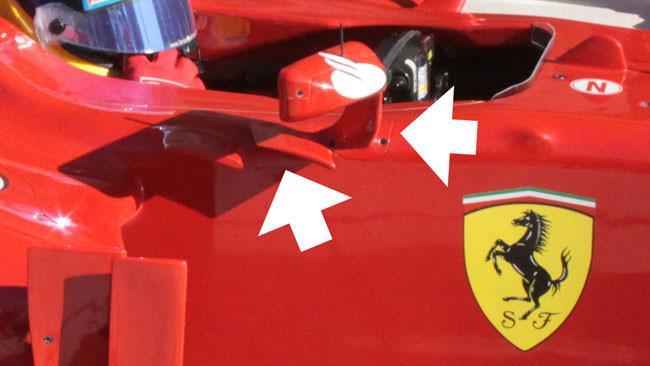 Modificati gli specchietti sulla F2012 di Alonso