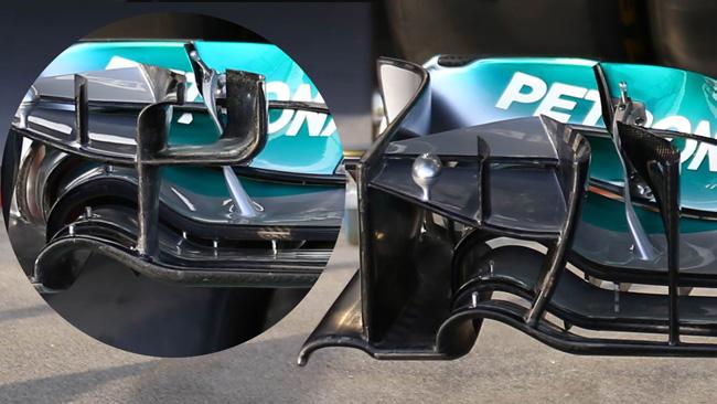 Sulla Mercedes W05 c'è un'ala anteriore nuova
