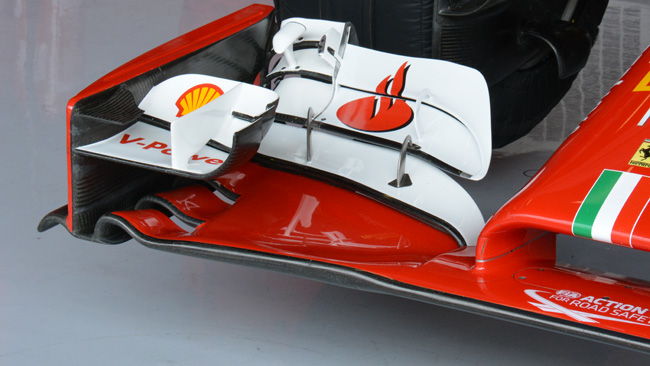Ferrari: tagliato l'ultimo flap dell'ala anteriore