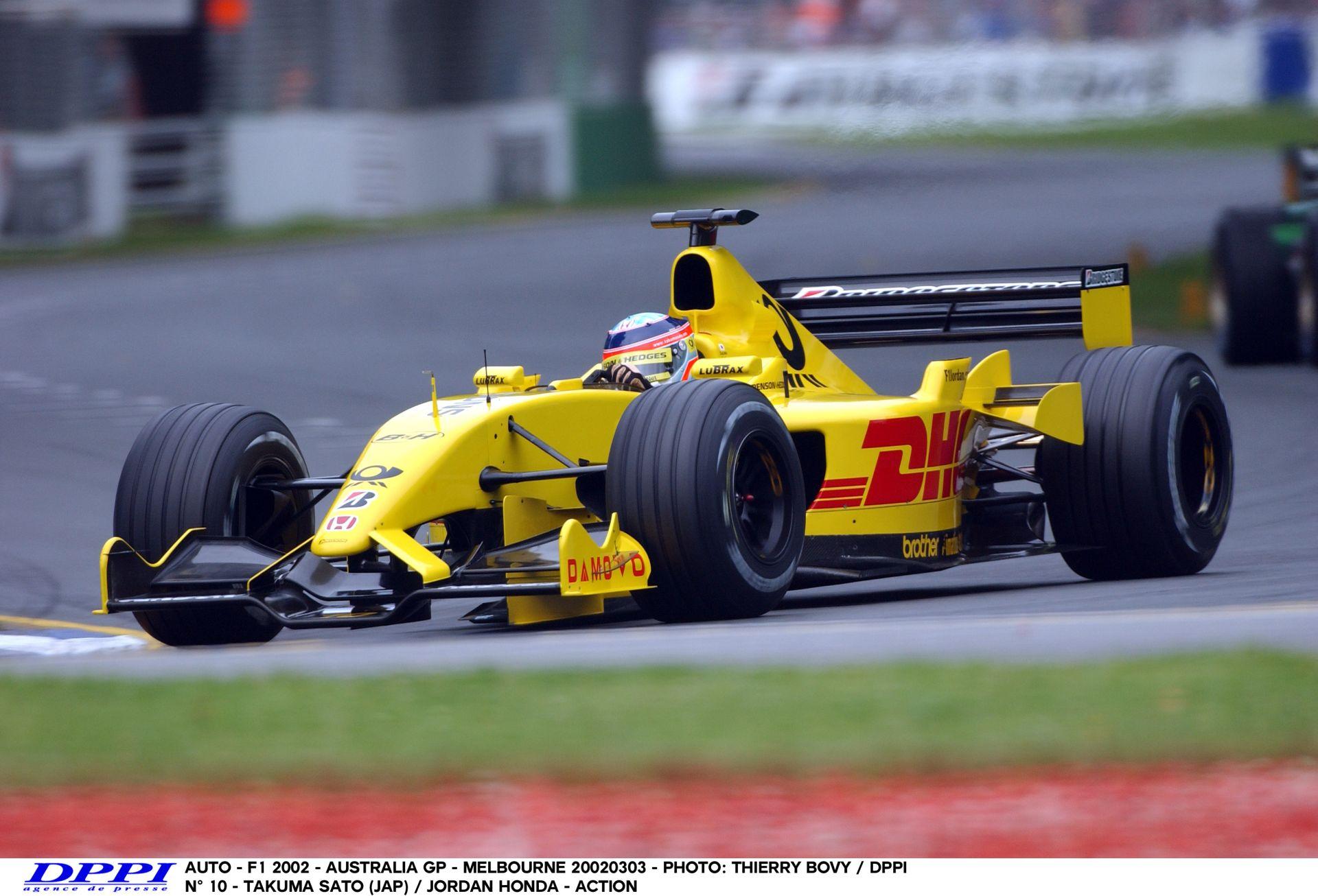 Sato agresszív köre a Jordannel a 2002-es Ausztrál Nagydíjon