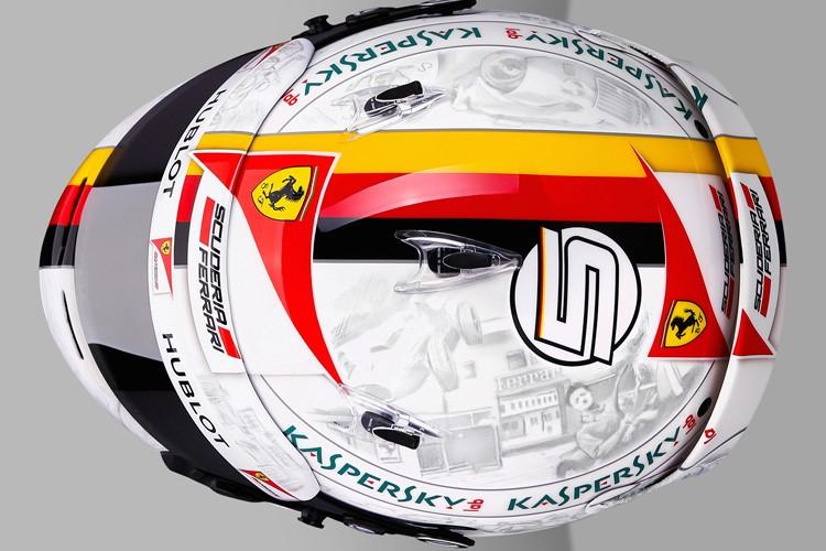 Vettel sisakján megelevenedik a Ferrari történelme: Enzo Ferrari és Michael Schumacher is felkerült