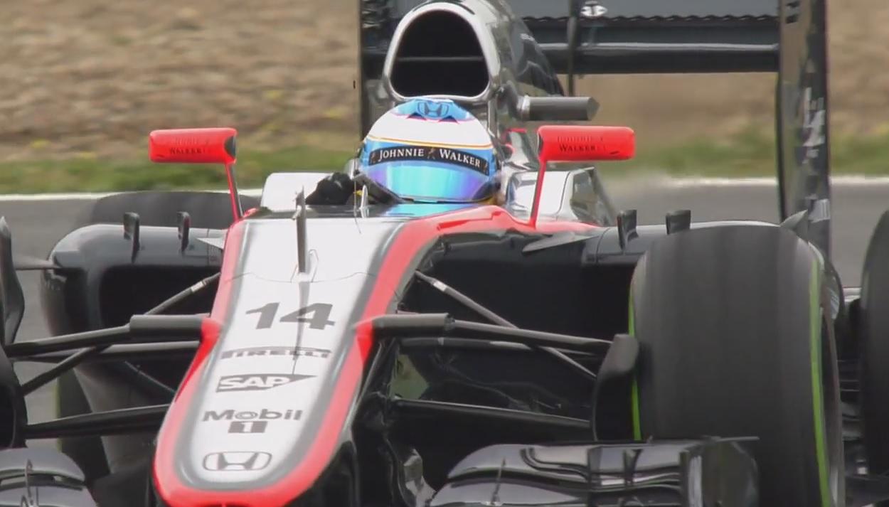 8 perces HD minőségű televíziós felvétel Alonso és a McLaren-Honda tesztjéről