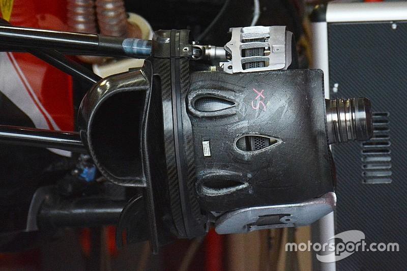 Ferrari: nel cestello dei freni anteriore c'è l'inserto in metallo