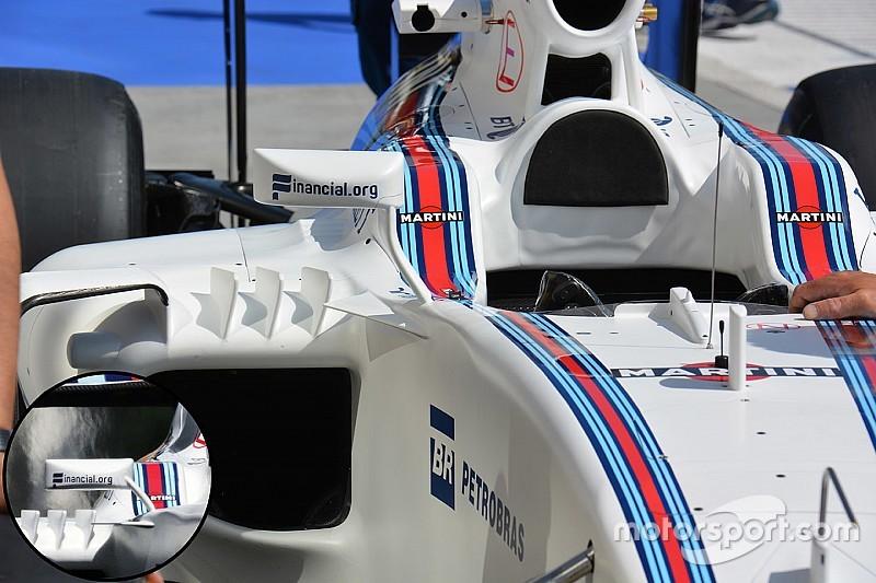 Williams: modificato il supporto degli specchietti retrovisori