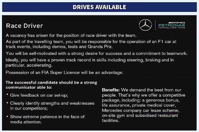 Procurando piloto, Mercedes anuncia vaga nos classificados
