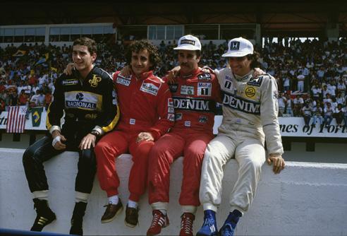 Senna, Prost, Mansell e Piquet posam para foto histórica em 1986 no Estoril
