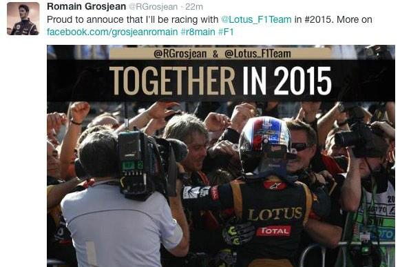 Grosjean apagou a mensagem minutos depois