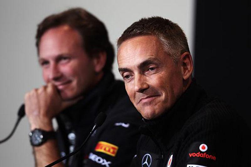 Christian Horner e Martin Whitmarsh na coletiva da FIA